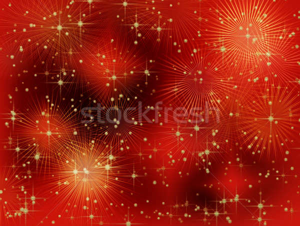 Starry red Christmas background with rays Stock photo © Artida