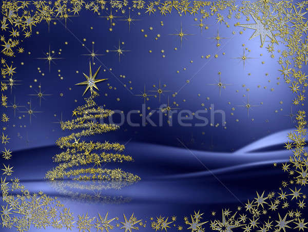 golden Christmas tree with stars on blue background Stock photo © Artida