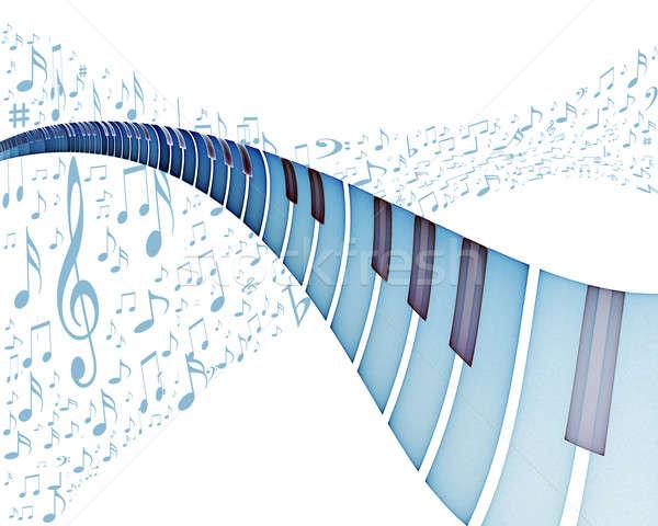 Fortepian muzyki niebieski klawiatury muzyki zauważa taniec Zdjęcia stock © Artida