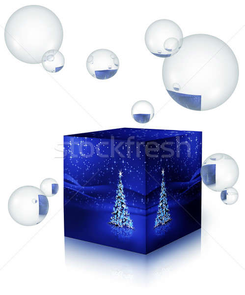 Christmas tree with snowflakes in a box with bubbles Stock photo © Artida