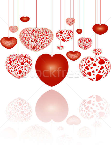 装飾的な 赤 心 デザイン 背景 グループ ストックフォト © Artida