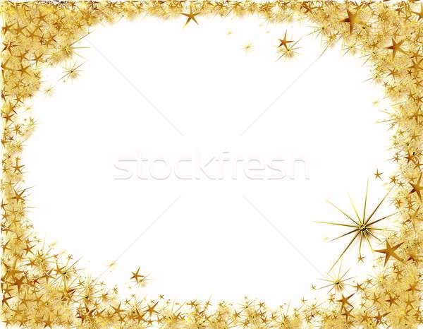 Natal quadro dourado estrelas fronteira Foto stock © Artida