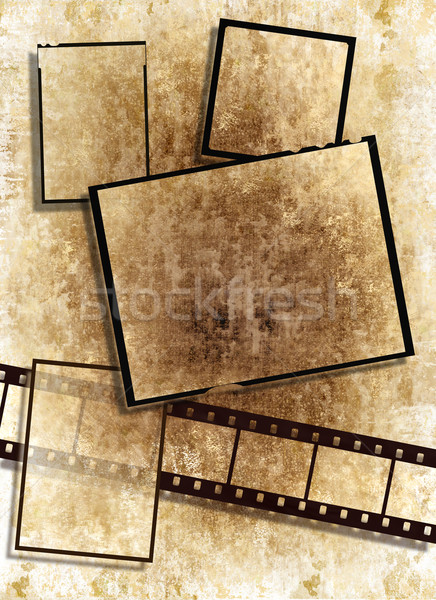 film strip and film plates with vintage grunge texture on grunge background Stock photo © Artida