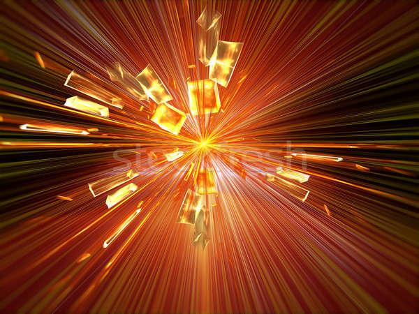 爆発 割れたガラス バースト 光 抽象的な 実例 ストックフォト © Artida