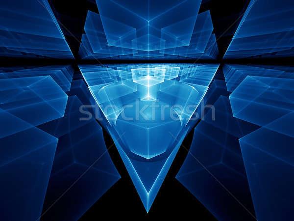 blue geometrical perspective Stock photo © Artida