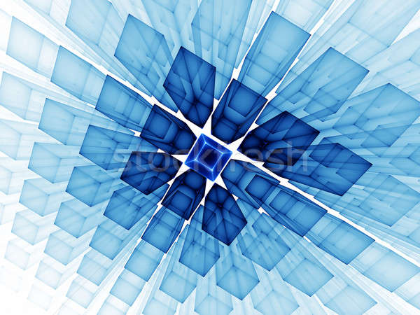 blue cubic horizon on white Stock photo © Artida