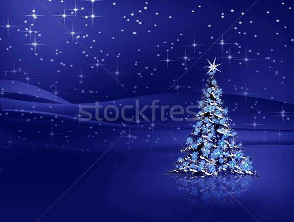 Christmas tree with snowflakes on blue background Stock photo © Artida
