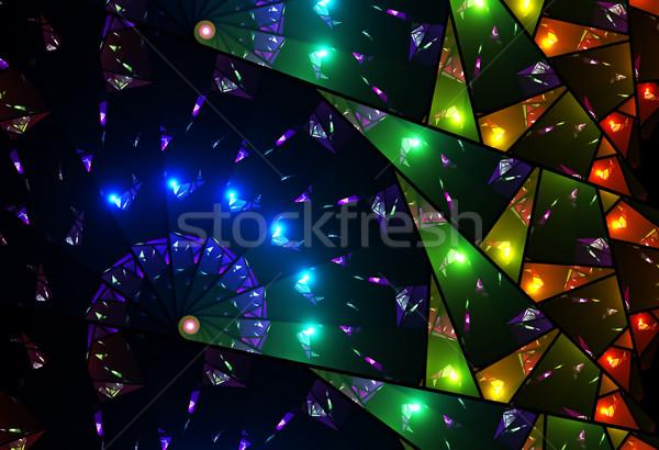 Colorido vitrais janela abstrato ilustração alto Foto stock © Artida