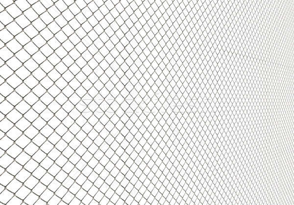 Metal Wire Fence on White Background Illustration Stock photo © Artida