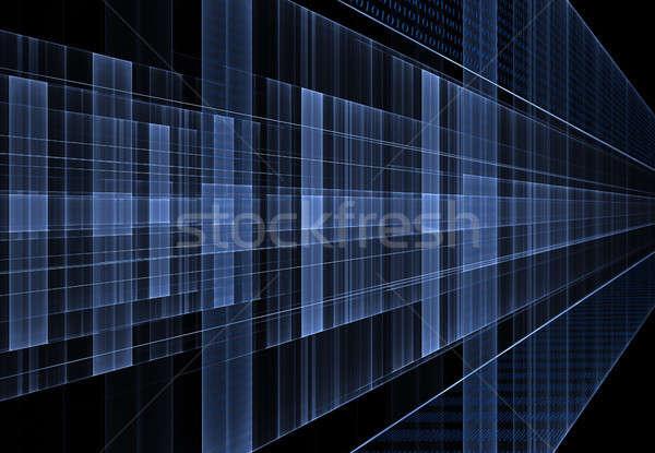 Bináris kód internet adat áramlás mátrix kék Stock fotó © Artida