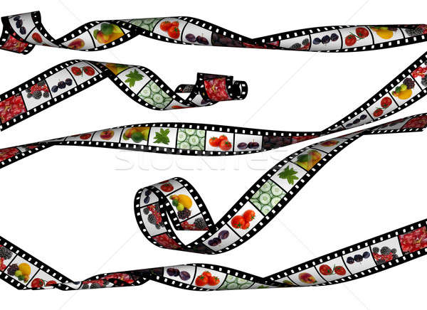 curvy  film stripes with  beautiful healthy food images, high de Stock photo © Artida