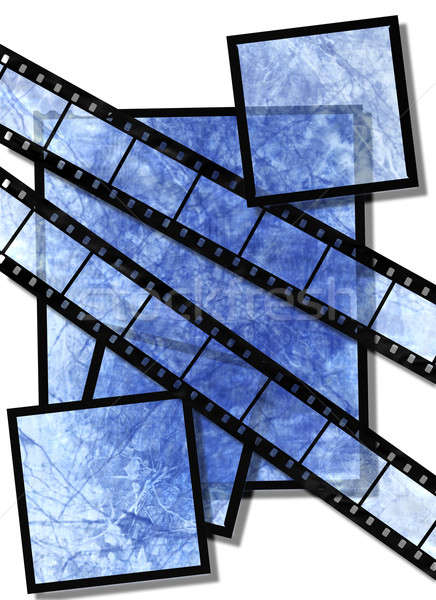 Stock photo: blue  film strip and film plates with vintage grunge texture