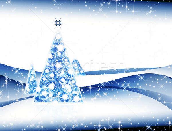 аннотация рождественская елка темно ночь иллюстрация Сток-фото © Artida