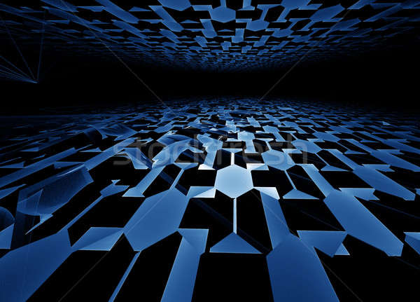 Blauw horizon meetkundig hi-tech perspectief Stockfoto © Artida