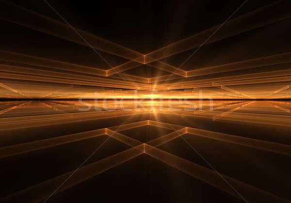 オレンジ 幾何学的な 地平線 日光 光 炎のような ストックフォト © Artida