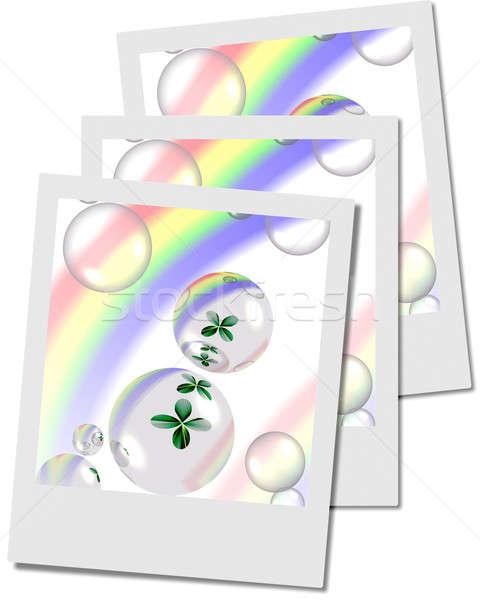 クローバー 泡 虹 インスタント 写真 フレーム ストックフォト © Artida