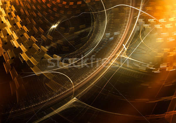 Colorful Ancient Mechanism with Golden Metal Gear Wheels Stock photo © Artida