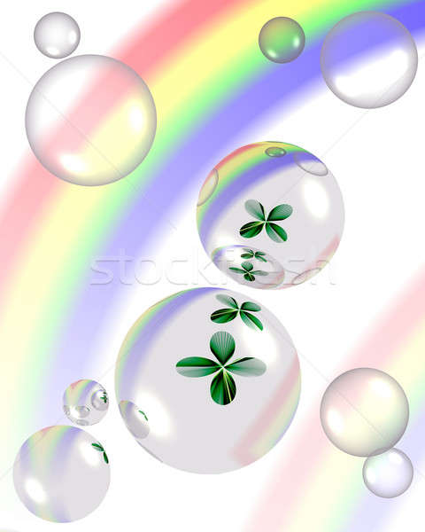 shamrock and bubbles with rainbow reflection  Stock photo © Artida