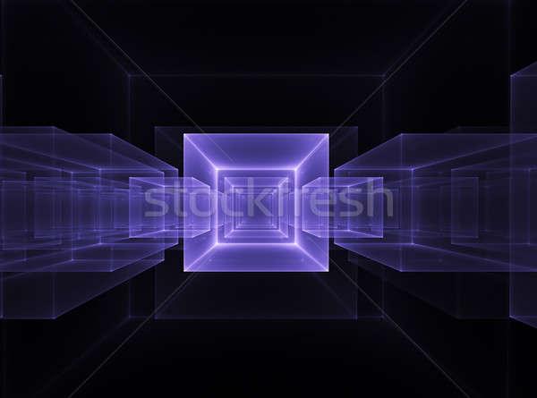 Neon ufuk soyut örnek perspektif Stok fotoğraf © Artida