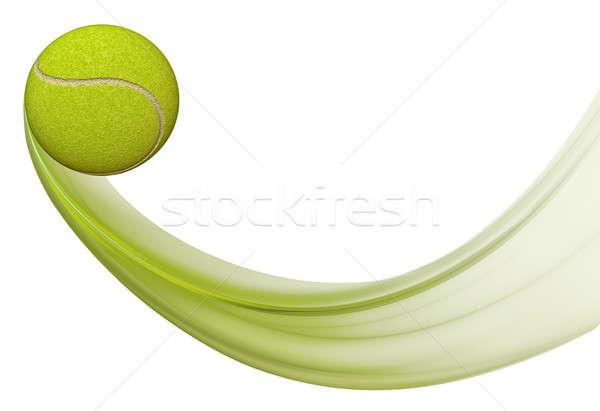 теннисный мяч Flying иллюстрация движения зеленый белый Сток-фото © Artida