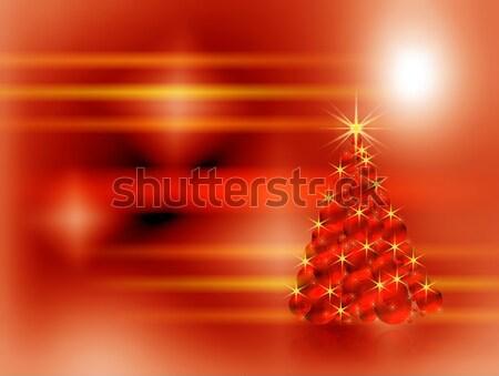 Christmas tree made of red sparkling decorating bulbs  Stock photo © Artida