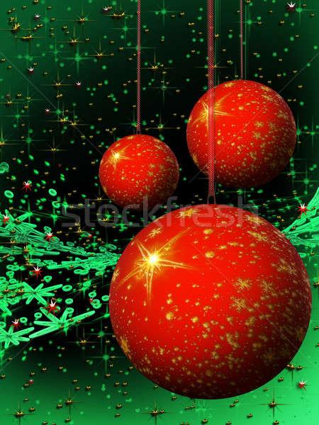 Kırmızı Noel yeşil kar taneleri Stok fotoğraf © Artida