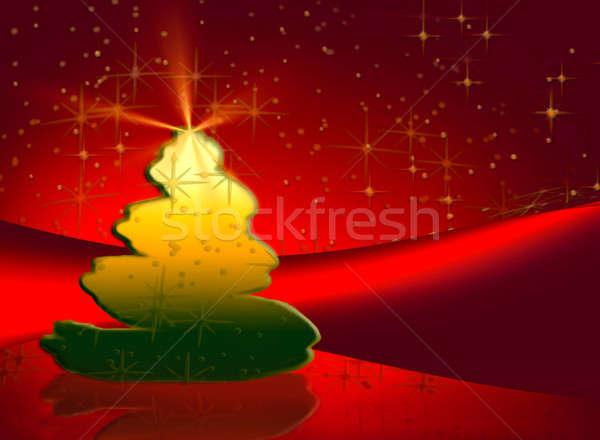 Choinka noc ilustracja drzewo świetle Zdjęcia stock © Artida