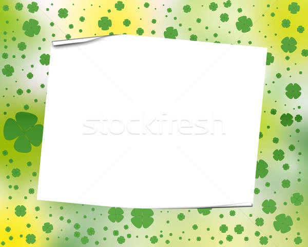 Yonca çerçeve beyaz kâğıt levha dört Stok fotoğraf © Artida