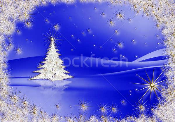 Christmas tree with stars on blue background Stock photo © Artida