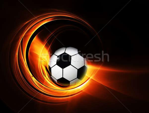 сжигание мяча огня иллюстрация черный Футбол Сток-фото © Artida