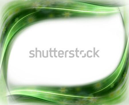 Zielone wiosną kwiatowy falisty granicy ramki Zdjęcia stock © Artida