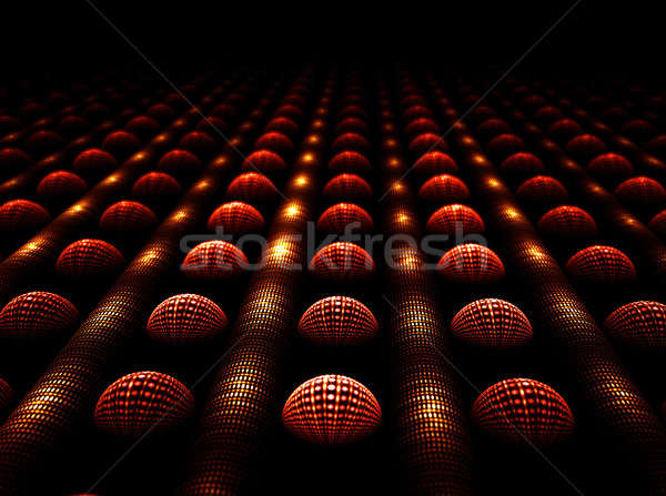 Cluster, shiny spheres and tubes in a row Stock photo © Artida