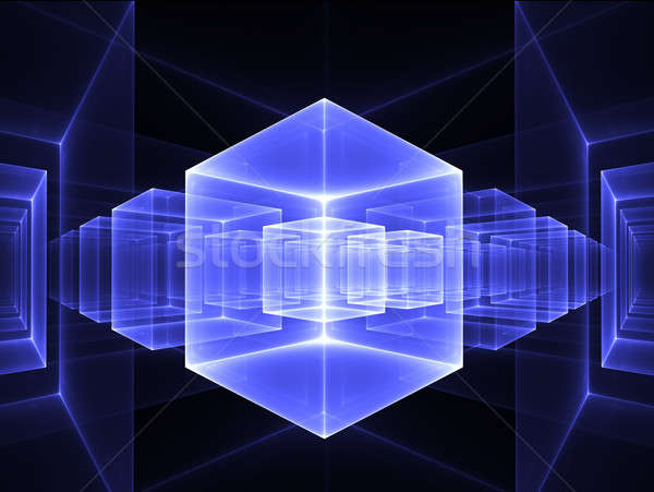 blue cubic perspective Stock photo © Artida