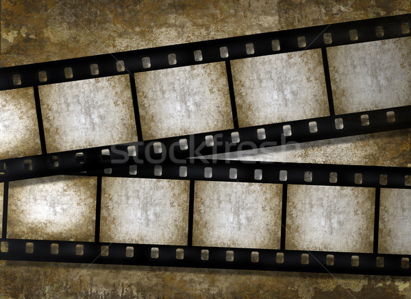 Old paper with filmstrips, vintage grunge texture  Stock photo © Artida