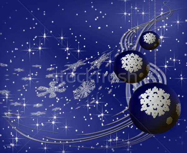 Blauw christmas sneeuwvlok kerstboom ornament Stockfoto © Artida