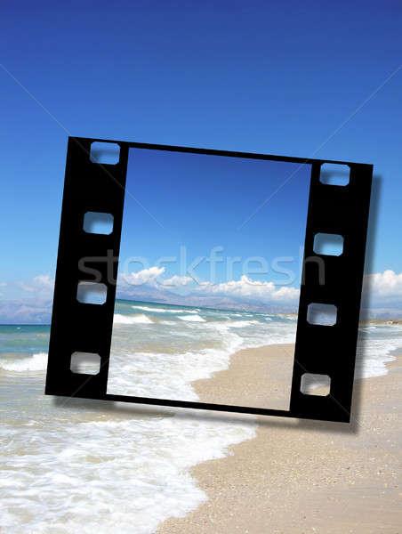 映画 フレーム 美しい 砂浜 休暇 日照 ストックフォト © Artida