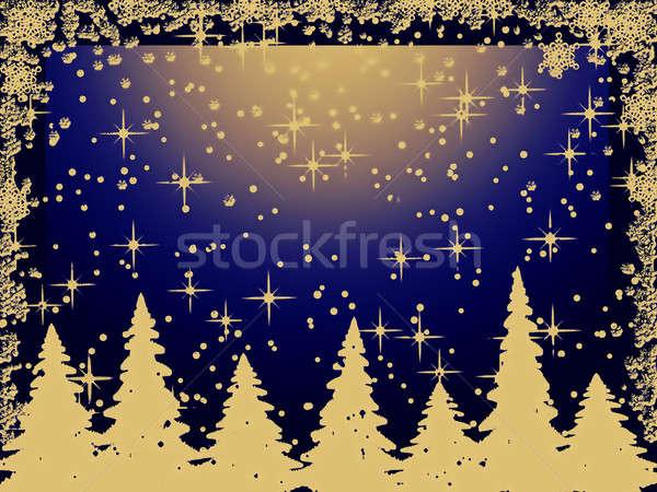 Złoty christmas drzew płatki śniegu niebieski zimą Zdjęcia stock © Artida