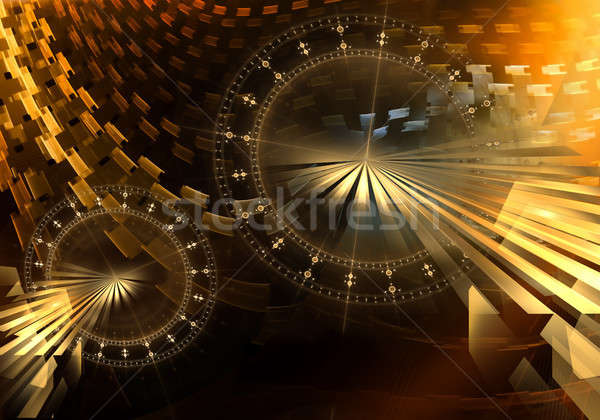 Old Colorful Mechanism with Golden Metal Gear Wheels Stock photo © Artida