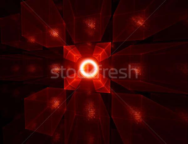 Ognisty horyzoncie czarny streszczenie ilustracja czerwony Zdjęcia stock © Artida