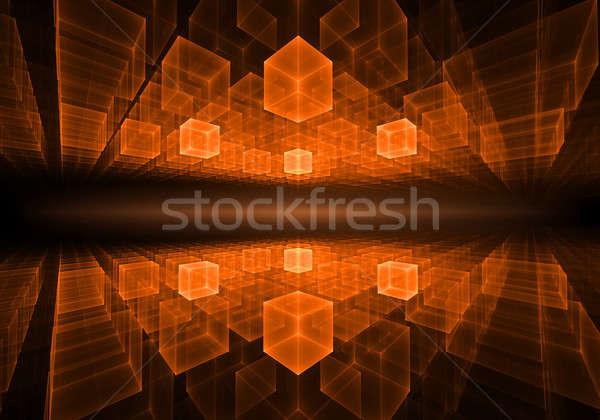 Laranja geométrico horizonte luz perspectiva Foto stock © Artida