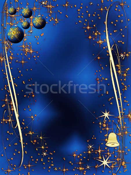 blue and golden elegant Christmas decoration Stock photo © Artida