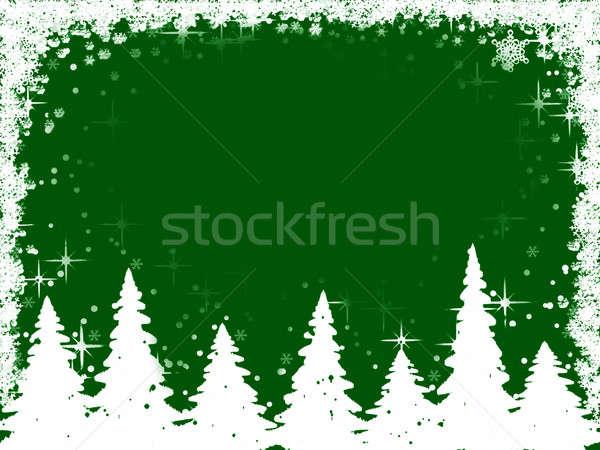 Christmas trees and snowflakes frame Stock photo © Artida