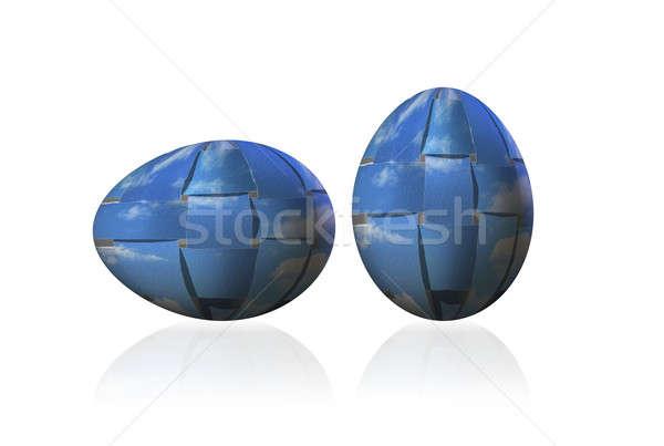 Decorative ornamental Easter Eggs, woven sky, paper-strip Stock photo © Artida