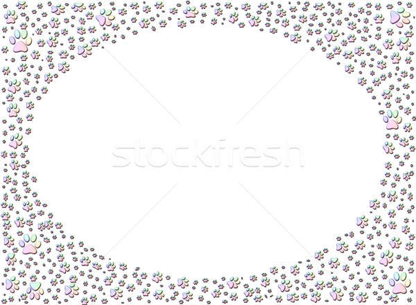 dog or cat paw print paw prints frame Stock photo © Artida