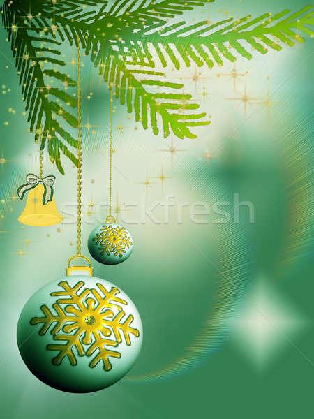 クリスマス 鐘 緑 抽象的な 雪 冬 ストックフォト © Artida