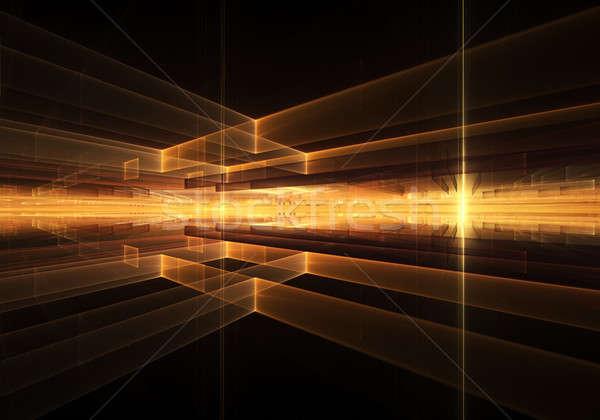 Ognisty geometryczne horyzoncie promienie świetle pomarańczowy Zdjęcia stock © Artida