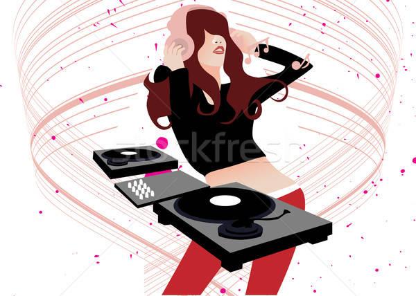 Müzik oynama dans disko döner tabla kadın Stok fotoğraf © artisticco
