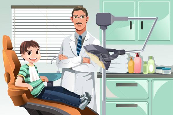 Stock fotó: Gyerek · fogorvosi · rendelő · férfi · egészség · kórház · fogak