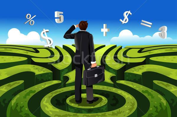 Negocios financiar empresario laberinto financieros Foto stock © artisticco