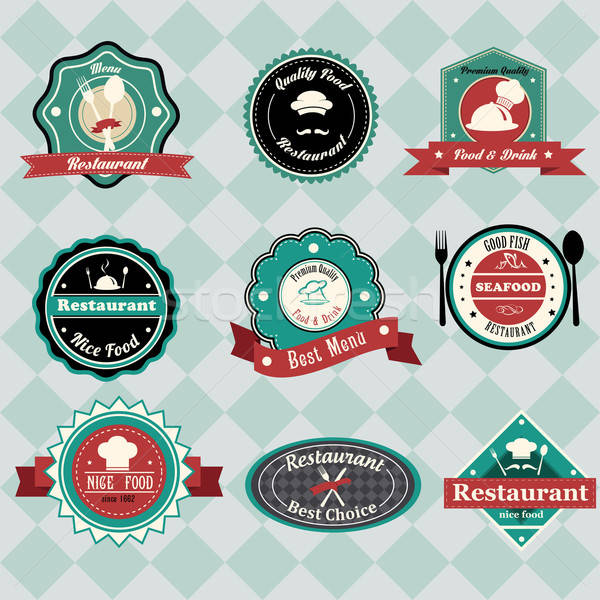 Vintage restaurant labels Stock photo © artisticco
